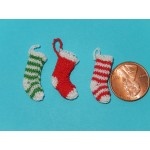 Christmas stocking green and white stripe
